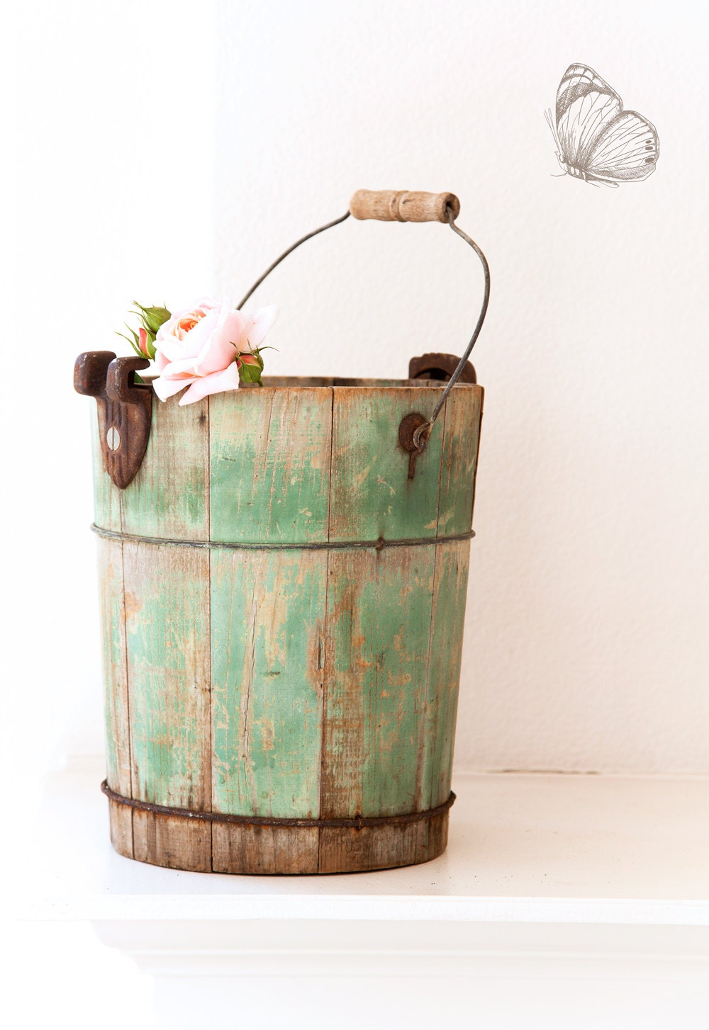 Vintage wooden green ice cream maker bucket shabby chic