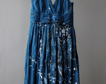Upcycled Blue Marc Jacob's Dress, Featuring Hand Painted Jackson Pollock Inspiration