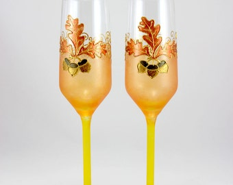 Fall Wedding, Autumn Toasting Flutes, Autumn Wedding Glasses, Oak Leaf, Acorns