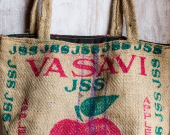 Rustic Upcycled Burlap Hand Bag