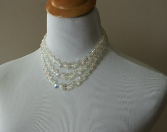 Vintage 1950's Triple Strand Aurora Borealis Crystal Choker Wedding/Bridal Necklace