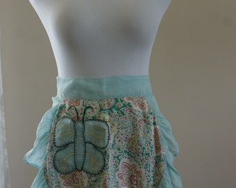 Aqua Blue Gauze Butterfly Vintage 1950's Half Apron with Ruffles and Paisley Pattern - SL-115