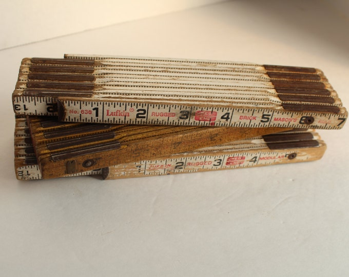 Vintage Folding Rulers, Instant Collection, Set of 3 Expandable Rulers
