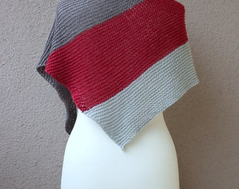 gray red shawl, cotton linen shawlette, summer wrap, spring shawl, striped wrap, made to order, choose your colors