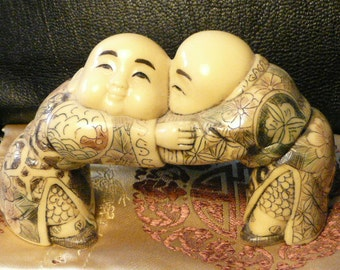 NEW! Chinese children,Set of Three small sculptures : Dancing,Fighing,Sleeping.