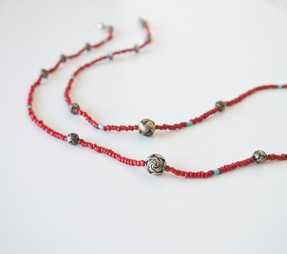 Vintage Southwest Coral and Turquoise Eyeglass Chain Lanyard