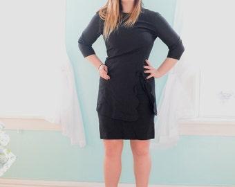 Vintage 1960s Jeanne Durrell Black Asian Inspired Dress High Neck Knee Length Little Black Dress LBD Chinese Bodycon Medium M Size 8 10
