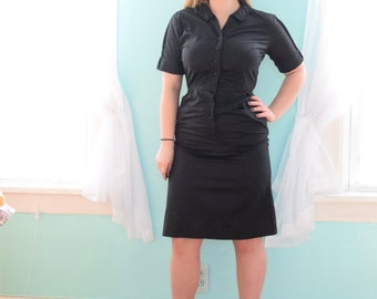 Vintage 1950s Hope Reed Black Wiggle Day Dress Bodycon Tunic Pockets Silk Knee Length House Button Up Medium M Large L Size 10 12