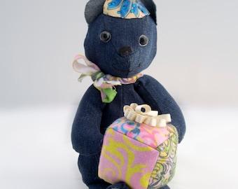 "12"" Denim Birthday Teddy Bear with gift"