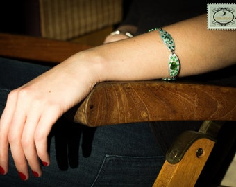 Cuff Bracelet, little glasses and seed beads on silver metal