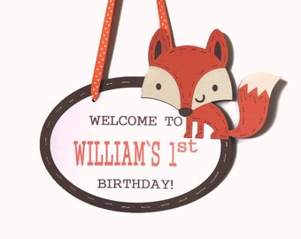Custom Party Welcome Door Sign - Fox or Character of Your Choosing