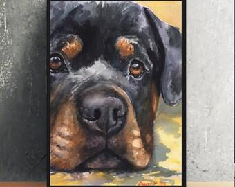 Rottweiler watercolor Print of the Original  watercolor Painting art cute Sweet Dog Decor cute Rottie beautiful sight
