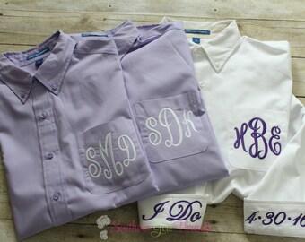 Bridal Party Shirts, Bridesmaid Gift, Bridesmaid Shirts, Monogrammed Bridesmaid Shirt, Button Down Shirt, Maid of Honor, Bridal Party