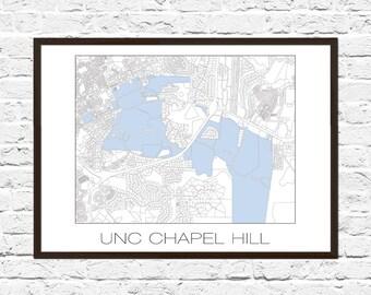 UNC Tarheel, UNC Poster, Campus Map, UNC Campus, Tarheels, Chapel Hill, Chapel Hill Art, Chapel Hill Print