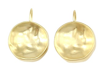 Matte Gold  Hammered Circle Everyday Earrings