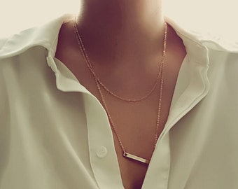 Silver Layering Necklaces Set Delicate Simple Layering Necklace Girlfriend Gift Rose gold layered necklace Multi Strand Necklaces - 2LYD