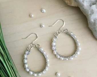 Freshwater Pearl Hoop Earrings | Delicate Freshwater Pearl Statement Bridal Bridesmaids Gift Under 50 Real Pearl Hoops