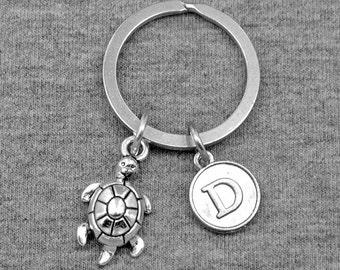 Tortoise Keychain -Turtles Key chain -Initial Keychain -Your Choice of A to Z