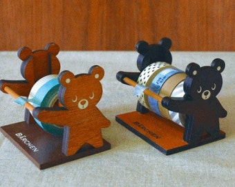 Wooden Baby Bear Washi tape dispenser Storage Case / Masking Tape Organizer / Washi Tape Holder