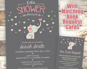 Elephant Baby Shower Invitation - Mommy to Be Shower Invitation - Elephant Invite