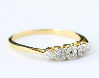 5 stone Edwardian diamond engagement band ring in 18 carat gold and platinum for her UK