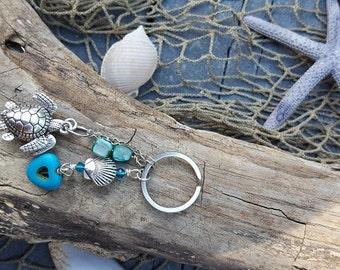 Coastal Love Keychain - Silver Sea Turtle - Mermaid Accessory - Purse Accent - Ocean Love - Coastal Gifts - Gifts Under 20