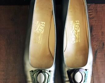 SALE Ferragamo Kitten Heels; Women's Vintage Silver Salvatore Ferragamo Pumps with Opalescent Buckle, Modern Size 9-9.5 Made in Italy