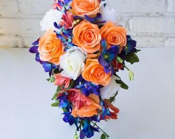 Tropical bridal bouquet ~ Orange blue bouquet ~ Galaxy orchid bouquet ~ Destination wedding bouquet ~ Cascade bouquet ~ Cascading bouquet