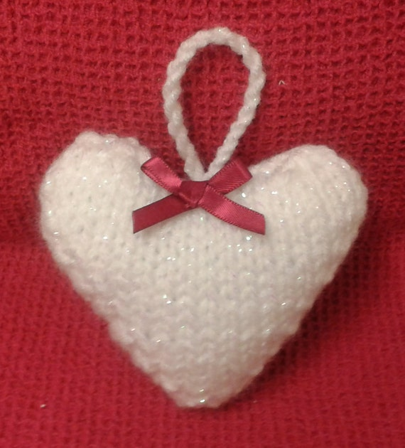 Hanging Heart Knitting Pattern : Heart Knitting Pattern Knitted Heart Valentines by ...