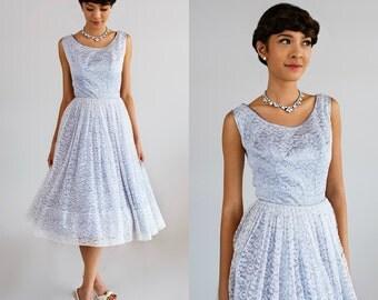 1950s Alternative Wedding Dress / Vintage Baby Blue Prom Dress