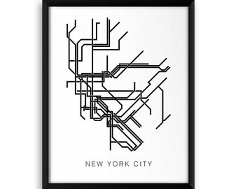 New York City Modern Subway Map, NYC Metro Map, in Black, NYC Transit, Metro Lines, New York City Wall Art, Map Print, Map Decor, nyc decor