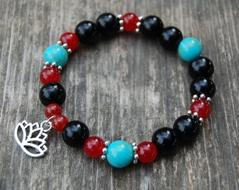 Lotus Bracelet,Turquoise,Agate GemStone 10mm Beads,Elastic Stretch Fit All, Men,Women,Pray,Yoga,Pray,Protection,Meditation