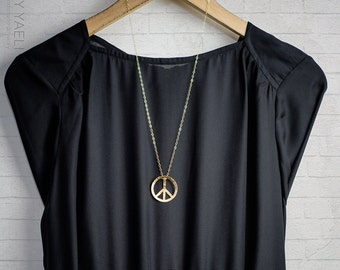 Peace necklace, peace  sign necklace, hippie necklace, statement necklace, long necklace, peace, gift under 50, gift for her, 14K gold.