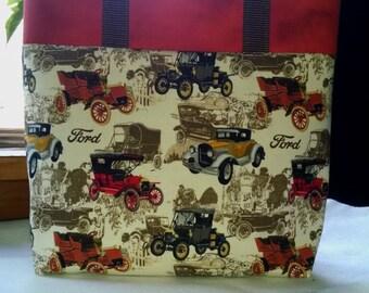 Childrens Tote Antique Car Tote Bag Book Bag Vintage Antique Car