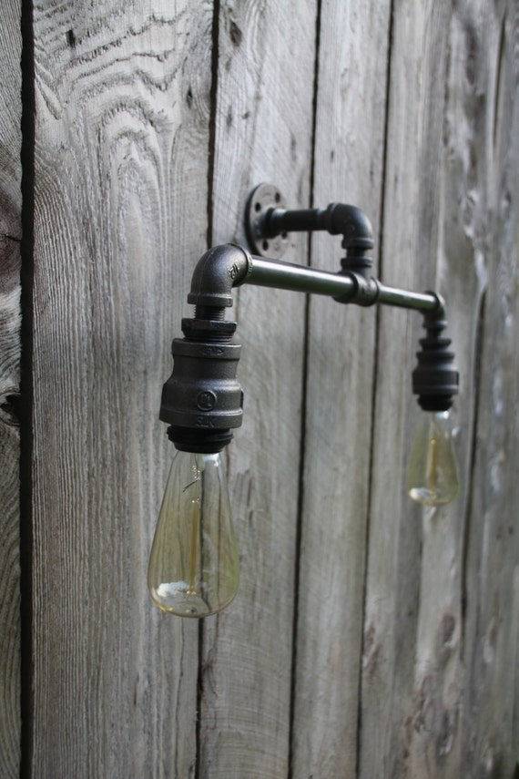 Double light industrial wall or ceiling sconce edison bulbs for Pipe bathroom light fixture