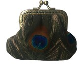 Eye of the Peacock Antique Bronze Sew in Straight Frame Clasp Coin Purse