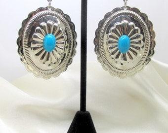 Vintage Silver Tone Turquoise Cabochon Dangle Pierced Earrings