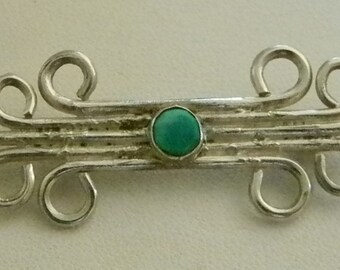 Silver Tone Turquoise Pendant Necklace Pin Brooch