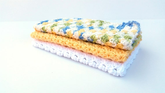 Large Crochet Cotton Dishcloth (Set of 3) Yellow, White & Cool Breeze Ombre - Dish Rag - Spring Kitchen- Eco Friendly - Housewarming Gift