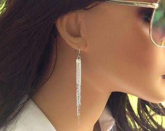 Silver Earrings Dangle, Long Silver Chain Earrings, Dangly Earrings, Chain Tassel, Earrings Silver or Gold, Simple Elegant Earrings, Jewerly