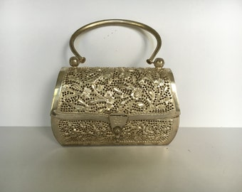 Vintage Thai Silverplate Filigree Evening Purse - Handmade