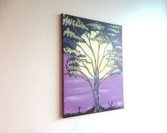 Moonlight Painting, Moon and Tree Art, Tree Painting, Abstract Art, Nature painting, Wall art, Gift for her, gift for him, home decor