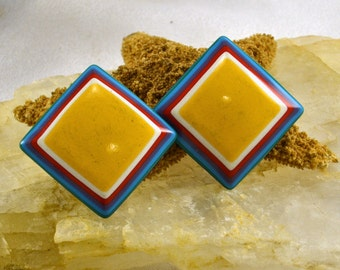 Mod Earrings - Square Striped w/ Yellow White Blue Red - Clip On - Groovy Man