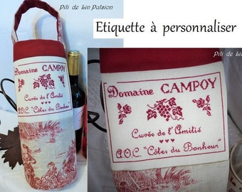"PDF cross stitch chart ""Label Domaine"" (to be customized)"