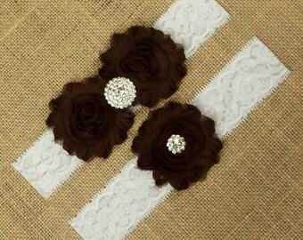 Garter Set, Garter Belt, Brown Wedding Garter Set, Brown Garter Set, Brown Bridal Garter, Brown Garter, Toss Garter, Garter Set, SCWS-N04