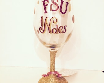 FSU/Seminoles Glitter Customized/Personalized Monogrammed Wine Glass