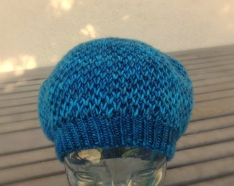 Knit Blue Hat, Knit Beret, Slouchy Hat, Honeycomb Hat, Brioche Slouchy, Wool Blend Hat