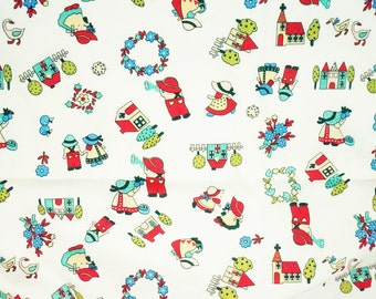 Shu little girl, cute with white background, home, flower, sweet color 100% Cotton Fabric by yard, fat quarter, half yard, yard