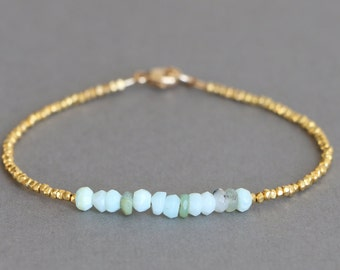 Opal Bracelet Gold Bracelet Simple Gold Bracelet Hill Tribe Gold Vermeil Bracelet 24K Gold Vermeil Beaded Bracelet