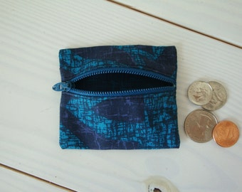 Blue Zippered Coin Pouch, Change Purse, Coin Purse, Gift for Her